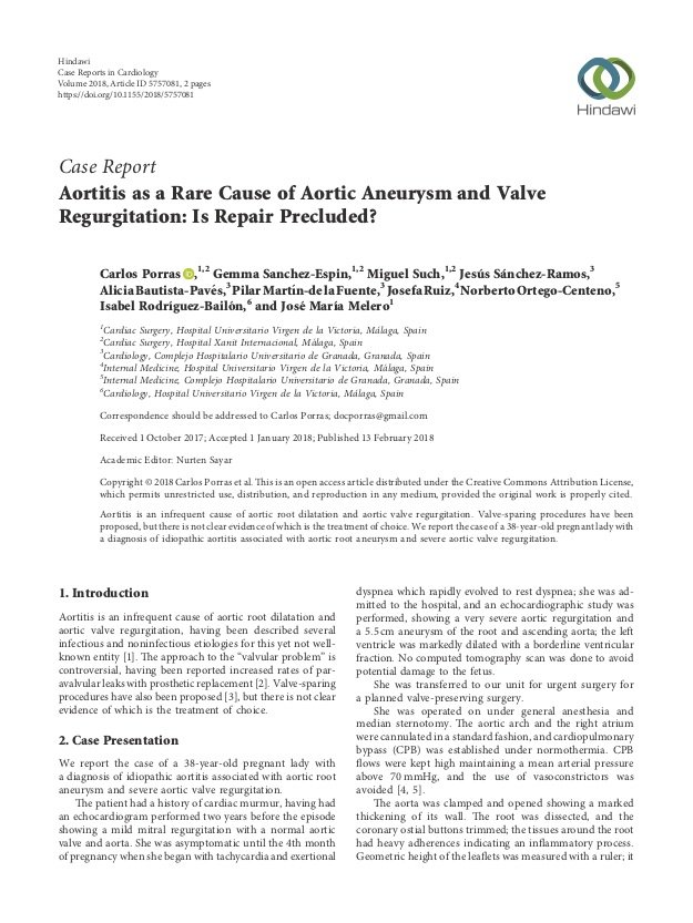 Aortitis as a Rare Cause of Aortic Aneurysm and Valve Regurgitation: Is Repair Precluded?